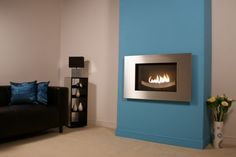 Blade High Efficiency Wall Mounted Fireplace In Stainless Steel - Blue Wall Decor, Blue Walls, Room, Wall Mounted Fireplace, Gas Fires, Home, Contemporary Fireplace, Efficiency, Fireplace
