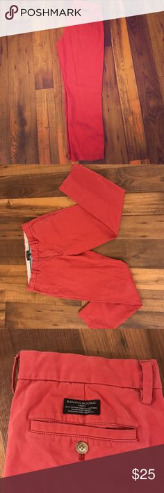 Banana Republic Red Emerson Chinos These pants make a statement, you're guaranteed to get compliments every time you wear them.   They are a soft material and can be rolled up on the bottom to style them for the summer or fall. Banana Republic Pants Chinos & Khakis
