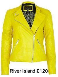 yellow leather jacket river island