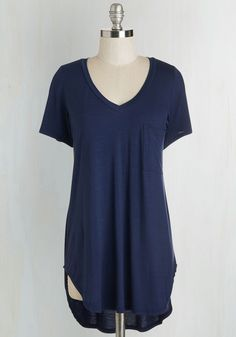 Yours Chill the End Top in Navy - Jersey, Knit, Long, Blue, Solid, Pockets, Casual, Short Sleeves, V Neck, Good, Blue, Short Sleeve, Americana