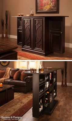 If a traditional bar just doesn't fit with your room design, try the Seaton flip-top bar cabinet. It has all of the bar storage you need, yet features the look of dining cabinetry for when you're hosting a dinner party.