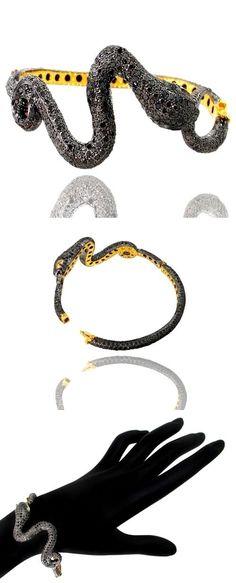 Bracelets 52598: New 14K Gold 8Ct Diamond Pave Snake Bangle 925 Silver Bracelet Halloween Jewelry BUY IT NOW ONLY: $1441.8