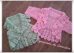 Bolero A Uncinetto Semplicissimo Per Bim - Diy Crafts Crochet Shrug Pattern, Crochet Hook Set, Crochet Stitches Patterns, Crochet Motif, Baby Knitting Patterns, Baby Patterns, Knit Crochet, Crochet Hats, Bitty Baby Clothes
