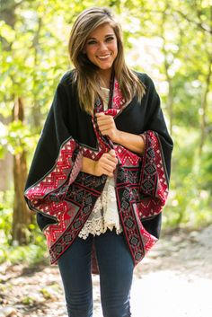 This beautifully bold cardigan features some amazing colors and just about the trendiest fit! It's so looooong and definitely a stunner for fall and winter wear!