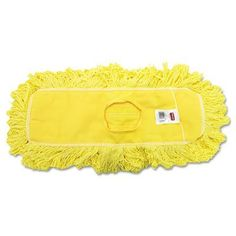 """Trapper Commercial Dust Mop, Looped-end Launderable, 5"""" x 18"""", Yellow, 12/CT by RCP. $28.09. Ideal for slip-on backing for easy set-up and for general-purpose dust mopping. Looped-end design traps more dust and won't fray, unravel or lint. Pretreated, preshrunk, launderable. Envelope style backing. Handle/frame sold separately. Head Type: Dust; Application: Floors; Mop Head Style: Looped End."""