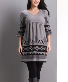 Another great find on #zulily! Gray Geo Bell-Sleeve Empire-Waist Tunic - Plus #zulilyfinds