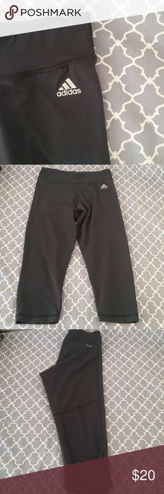 🆕 Adidas Work Out Capri Tights Gray work out tights, Capri length, Climalite fabric, the color looks like it could almost be black in the photos but they are gray, size S. *NWT* Adidas Pants Capris