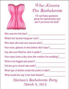 Bachelorette Party Games | Party Games / 12 Personalized Who Knows The Bachelorette Party Game ...