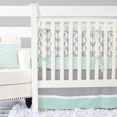 Love this grey & mint crib bedding http://rstyle.me/n/wgvqdnyg6