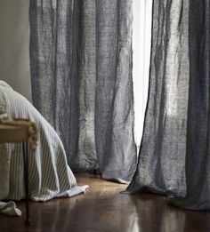 This Charcoal Linen Loop Top Curtain (sold as a single) has been woven with love in Portugal from the finest French flax. Grey Linen Curtains, Long Curtains, Bathroom Window Curtains, Bedroom Curtains, Little Big House, Linen Cupboard, Natural Bedding, Linen Store, Window Coverings