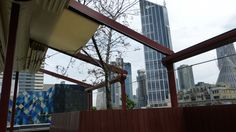 Goldilocks Bar #Melbourne. Gabled #retractable #roof top installed by Melbourne Awning Centre