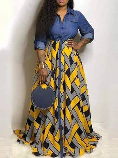 Latest African Fashion Dresses, African Dresses For Women, African Print Fashion, African Attire, African Traditional Dresses, Denim Shirt Dress, Skirt Fashion, Style Fashion, Chic Outfits