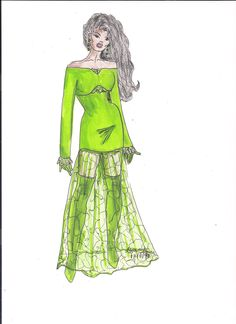 Lime Green Off-Shoulder Mini-Dress with Floor Length Lace Maxi Skirt