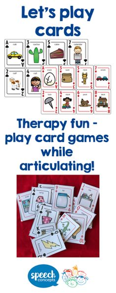 Everyone loves card games! The rules are quickly learned and easy to follow making them a game that''s perfect for children to become immersed in. So we've taken it one step further to help children practice clear articulation during the game! The resource includes an outline for several popular games as well as a few you may not know. While primarily a word level activity games can be easily adapted to phrase and sentence level. Articulation Therapy, Articulation Activities, Speech Therapy Activities, Phonological Processes, Phrases And Sentences, Play Therapy Techniques, Speech Room, Social Thinking, Phonemic Awareness
