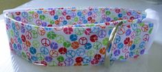 Tiny Peace Signs Dog Collar  Made to Order  by katiesk9kollars, $20.00