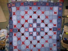 Blue Jean Quilt -- circle pattern, every other one reversed, it would be double sided.
