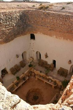 A troglodyte cave house in Gharyan, Libya. The house was dug out in 1666 and it is still being used today.