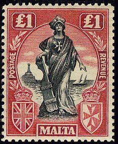 Malta 1922 Allegorical Figure 1 MNH watermark Multiple Script CA sideways Old Stamps, Rare Stamps, Vintage Stamps, Malta, Postage Stamp Design, National Symbols, Postage Stamp Collection, Small Art, Stamp Collecting