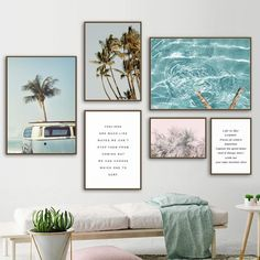 Buy Coconut Tree Palm leafs Bus Sea Landscape Wall Art Canvas Painting Nordic Posters And Prints Wall Pictures For Living Room Decor Garden Wall Designs, Garden Wall Art, Planting Bulbs In Spring, Deco Surf, Garden Solutions, Building A Pergola, Landscape Walls, Pergola Designs, My New Room