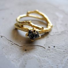 golden tree branch ring with sparkly grey one of by LindaFriedrich, $440.00