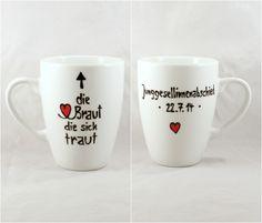 Hochzeitsgeschenk Braut Junggesellinnenabschied  von Lovely-Cups   auf DaWanda.com