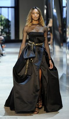 Leading the runway: Jourdan Dunn stole the show at the Alexandre Vauthier Autumn/Winter 2016 catwalk event during Haute Couture Fashion Week in Paris on Tuesday Event Dresses, Ball Dresses, Nice Dresses, Paris Fashion, Runway Fashion, High Fashion, Jourdan Dunn, Alexandre Vauthier, Haute Couture Fashion
