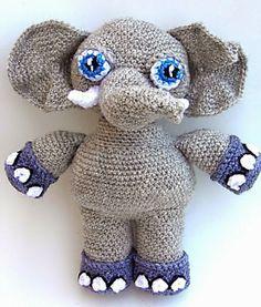 La elefante Eli (24cm) Amigurumi -Patrón Gratis en Español  http://patronesamigurumipuntoorg.blogspot.de/2014/04/la-elefante-eli.html#more