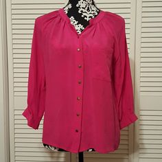 """Greylin Silk Top EUC fascia silk top. Gathered around collar. 3/4 sleeve with snaps. 7 quality snaps down front. Pocket in front.  100%Silk  A1A   Bust 40"""" Sleeve 17"""" Length 24"""" Greylin Tops Blouses"""