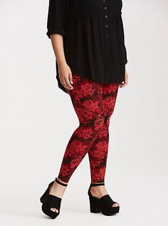 Rose Print Full Length LeggingsPlus Size Rose Print Full Length Leggings, MULTI FORAL