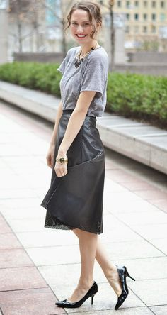 T-shirt, statement necklace, knee length skirt, leather, cut out, heels. Via Isn't That Charming: Art Effect + Come Play!