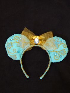 Jasmine Mickey ears from Aladdin.  Hand embroidered and beaded by Emily.