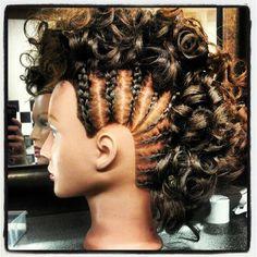 Braid mowhawk with curls by me janna rae Braided Mohawk Hairstyles, Mohawk Braid, Mom Hairstyles, Goddess Hairstyles, Natural Hairstyles, Pin Curl Updo, Pin Curls, Festival Hair, Gymnastics Hairstyles