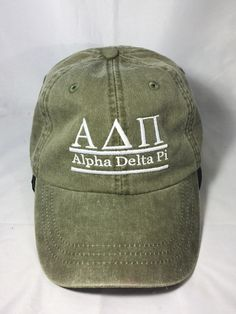 Alpha Delta Pi ADPI Sorority Hat- Olive Green - Brothers and Sisters' Greek Store