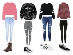 """""""Perfect back to school outfits"""" by megan4-i on Polyvore featuring Miu Miu, Mr. Gugu & Miss Go, R13, Glamorous, J Brand, Topshop, Charlotte Russe, Vans, Converse and adidas"""