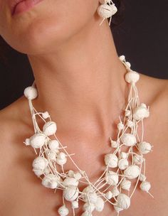 Necklace   Begona Rentero. 'Aspen'. From paper made by artist out of silk, cotton and other fibers