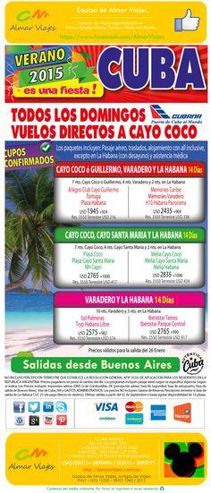 #AlCaribeConAlmar l ¡Cuba, verano 2015!  Salidas: Domingos. Desde Buenos Aires. Con Cubana.  Visitaremos: Cayo Coco l Cayo Guillermo l La Habana l Varadero l Cayo Santa María   [Sitio web de contacto]: > http://almarviajes.com.ar/Contact <  Equipo de Almar Viajes, Amigos de Viajes.  EVyT - LEG 15220 - RESO 1040 / 2012
