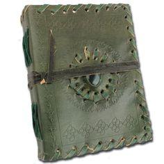 Medieval-Renaissance-Piedra-Edad-Media-De-Cuero-Hechos-A-Mano-Notebook-Verde-Oscuro