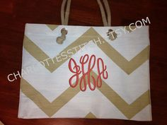 Monogrammed Beach Tote - White and Gold Chevron. $28.00, via Etsy.