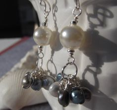 Blue, green, and white freshwater pearls dangle cluster earrings Wire wrapped earrings Gift idea Bridal wedding jewelry Pearl earrings