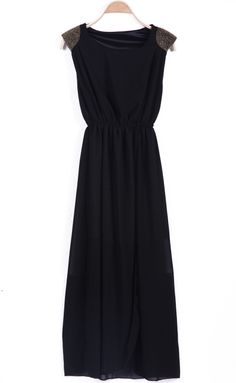 Black Sleeveless Contrast Shoulder Bandeau Split Dress - Sheinside.com
