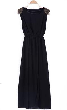 Black Sleeveless Contrast Shoulder Bandeau Split Dress - Sheinside.com