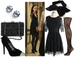 Outfit inspired by Blair Waldorf's black lace dress: Little black dress, black pumps, hair bow, lace tights, chain strap bag, stud earrings..... OMG I <3 Blair Waldorf!!!!