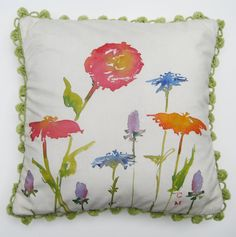 Hand Painted Garden Pillow by CarolMaguire on Etsy, $75.00