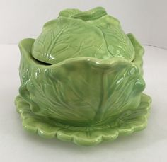 Vintage Holland Mold Ceramic Cabbage Bowl with Lid and Matching Plate