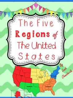 Five Regions of the US teaching resource, learning about the five regions of the United States can be fun!