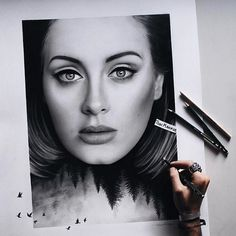 "Stunning ""Adele"" drawing by the artist @tonimahfud by art_sanity"