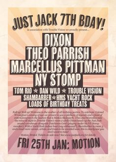 View the Just Jack 7th Birthday flyer