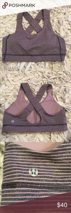 Lululemon sports bra Cute tiny purple and grey stripes. Good support bra lululemon athletica Tops