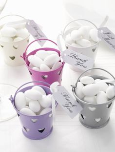 Hearts Ivory Tin Favour Pails