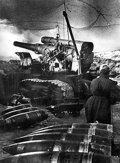 The position of the Soviet 203-mm howitzer B-4